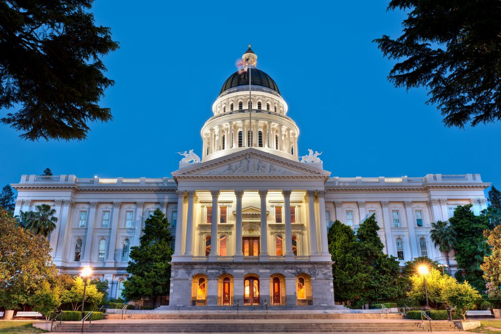 The California State Capitol building at dusk.